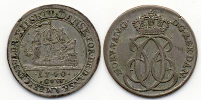 DÄNEMARK DÄNISCH-WESTINDIEN Christian VI., 1730-1746. 12 Skilling 1740, Kopenhagen. Hede 1..jpg