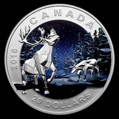 Канада 20 долларов 2016.Олень Карибу – Геометрия в искусстве..jpg