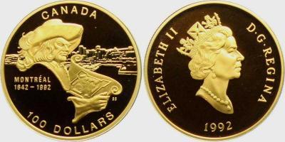 17 мая 1642 года — основан Монреаль (Канада, 100 долларов 1992 года).jpg