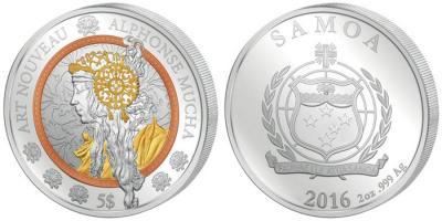 Самоа - 2016 - 5 долларов - в стиле модерн Альфонса Мухи.jpg