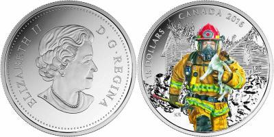 Канада 2016 15 долларов серия «Национальные герои» «Пожарные».jpg
