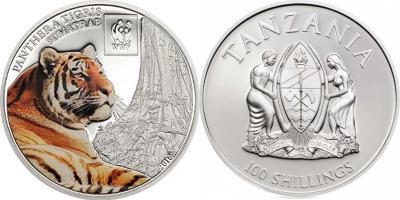 Танзания  2016 100 шиллингов  Суматранский тигр WWF Всемирный фонд дикой природы.jpg