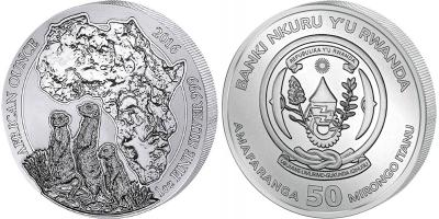 Руанда 2016, 50 франков Руанды (RWF) Сурикаты (1-Unze-Silber-Ruanda-Erdmaennchen-2016-African-Ounce-50-RWF).jpg