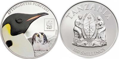 Танзания  2016 100 шиллингов  Императорские пингвины WWF Всемирный фонд дикой природы Монета 100 шиллингов.jpg