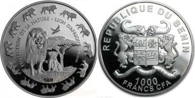 Бенин 2016 1.000 франков CFA Лев с детёнышем.jpg