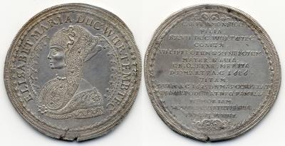 WÜRTTEMBERG-OELS, HERZOGTUM Sylvius Friedrich, 1664-1697. Reichstaler 1686 IN, Bernstadt, auf den Tod seiner Mutter Elisabeth Maria von Münsterberg-Oels. Dav. 7896.jpg