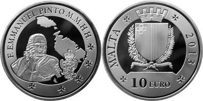 24 мая 1681 года родился - Мануэль Пинто де Фонсека (Malta-2013-10-euro).jpg