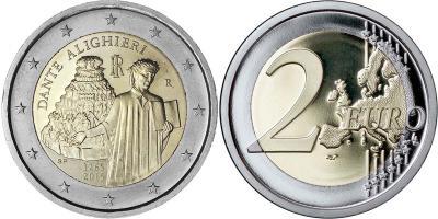 26 мая 1265 года родился (по одной из версий) — Данте Алигьери (Италия 2 евро).jpg