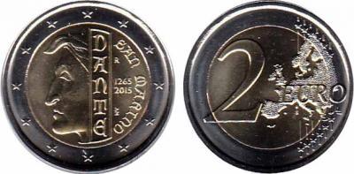 26 мая 1265 года родился (по одной из версий) — Данте Алигьери (Сан-Марино 2 евро).jpg
