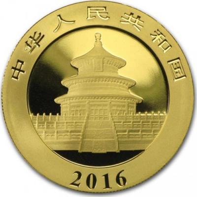 Китай. Золотая инвестиционная монета Китая - Панда 2016 г.в., 30 г чистого золота (проба 999).jpg