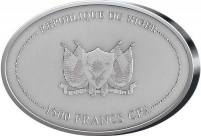Нигер 2016 год 1500 франков CFA, Мамонт, бивень мамонта..jpg
