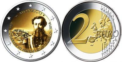 1 июня 1866 года — Принц Карл III издает указ о названии Монте-Карло (Монако 2 евро 2016).jpg