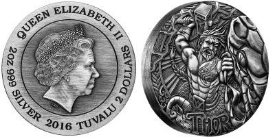 Тувалу  2016 год, 2 доллара, скандинавский бог - Тор.jpg