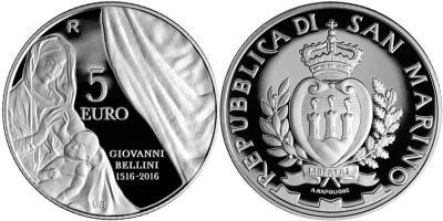 Сан - Марино, 5 евро 500-летие со дня кончины Джованни Беллини.jpg