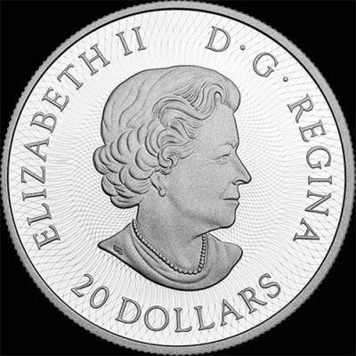 Канада 20 долларов 2016, монета - лабиринт кленовые листья (аверс).jpg