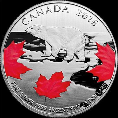Канада 25долларов 2016, Истинный Север (реверс).jpg