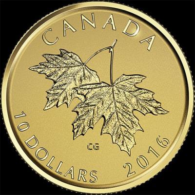 Канада  2016 год 10 долларов кленовые листья (реверс).jpg