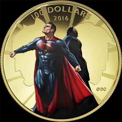 Канада,  2016 100 долларов Бэтмен против Супермена. На заре справедливости (реверс).jpg