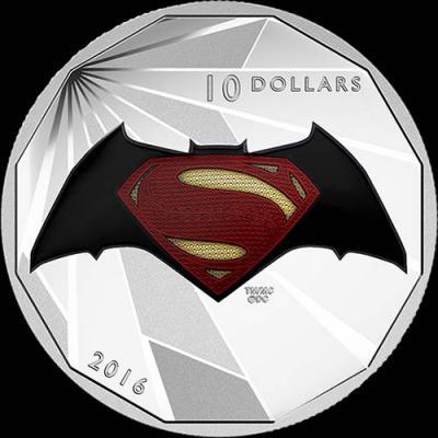 Канада,  2016 10 долларов Бэтмен против Супермена На заре справедливости (реверс).jpg