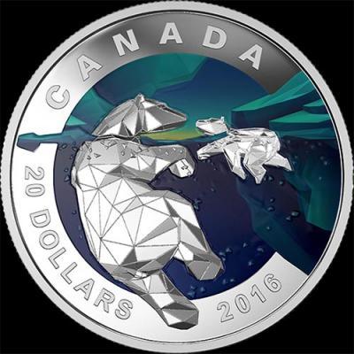 Канада, 20 долларов, 2016 год, Геометрия в искусстве, Белый медведь.jpg