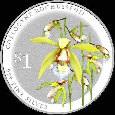 Сингапур 1 доллар 2016 орхидея Целогина Рохуссена (лат. Coelogyne-rochussenii).jpg