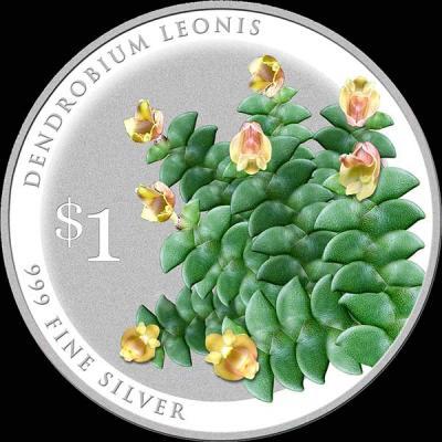 Сингапур 1 доллар 2016 орхидея  Дендробиум львиный (лат. - Dendrobium leonis).jpg