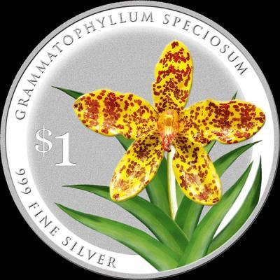 Сингапур 1 доллар 2016 орхидея Тигровая орхидея (лат. grammatophyllum-speciosum)).jpg