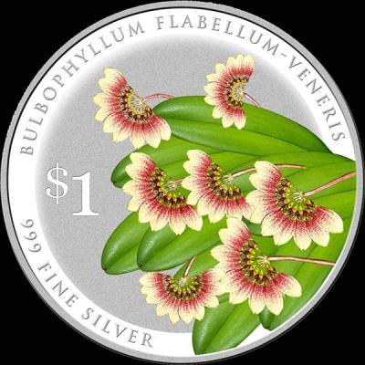 Сингапур 1 доллар 2016 орхидея Бульбофиллум флабеллум-венерис (лат. Bulbophyllum Flabellum-veneris).jpg