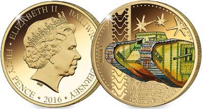 Гернси 2016 год 50 пенсов 100 лет первому боевому танку Mark I.jpg