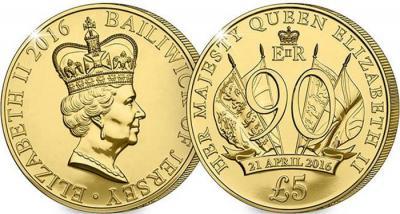 Остров Джерси 2016, 5 фунтов. 90 лет королеве.jpg