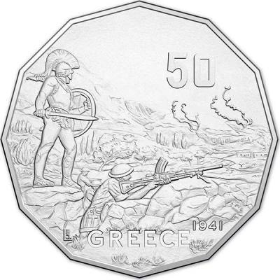 Австралия, 50 центов 2015 года, «Греция», серия Австралия в войне (реверс) (реверс).jpg