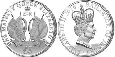 Остров Джерси. 2016, 5 фунтов. серебро 90 лет королеве.jpg