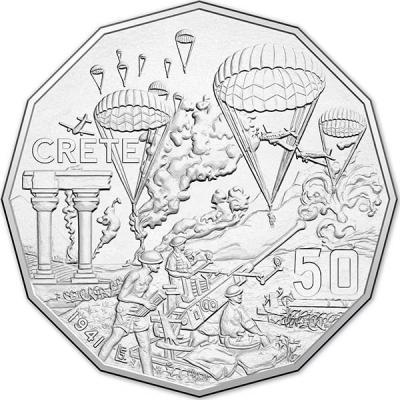 Австралия, 50 центов 2015 года, «Крит», серия Австралия в войне (реверс).jpg
