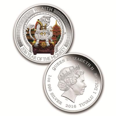 Тувалу, 1 доллар 2016 года. Лунный календарь. год Обезьяны..jpg