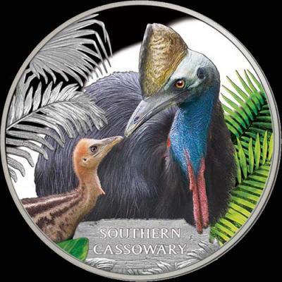 Тувалу 1 доллар 2016. Птица – Южный Казуар, серия Исчезающие виды (реверс).jpg
