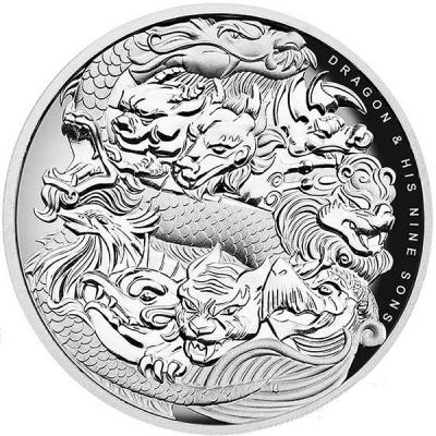 Тувалу, 5 фунтов 2016 года.  Китайская история дракона и его девять сыновей. (реверс).jpg