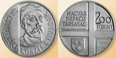 5 июля 1853 года родился — Тивадар Костка Чонтвари(Венгрия 200 форинтов, серебро-25000,  1977).jpg