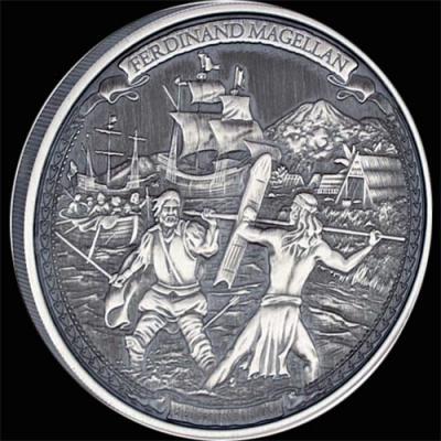 Остров Ниуэ 5 долларов 2016 года «Фернан Магеллан».jpg