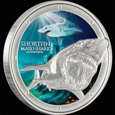 Остров Ниуэ 2 доллара 2016 года «Акула-мако».jpg