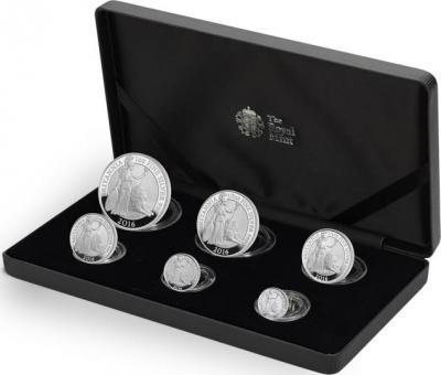 Великобритания набор серебряных монет 2016 года «Британия со львом».jpg