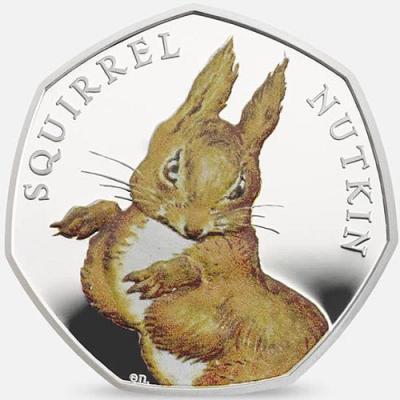 Великобритания 50 пенсов 2016 года, серебро «Белка Нуткин» (реверс).jpg