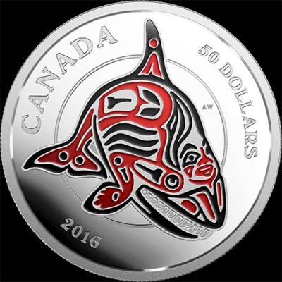 Канада, 50 долларов, 2016 год, Мифические королевства Хайда - Касатка (серебро).jpg