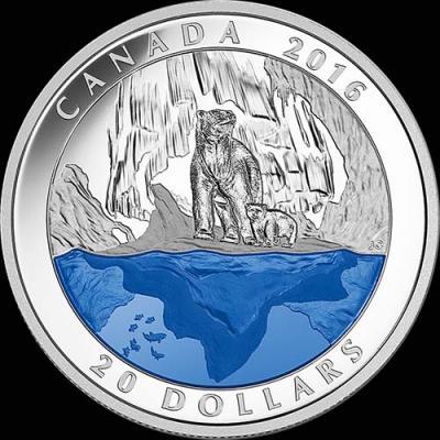 Канада,  2016  20 долларов Полярный медведь (реверс).jpg