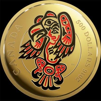 Канада, 500 долларов, 2016 год, Мифические королевства Хайда - Орёл (золото).jpg