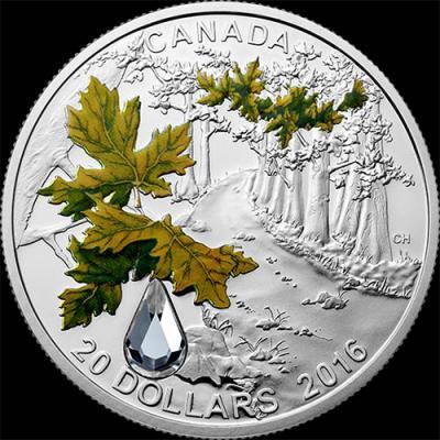 Канада 20 долларов 2016. Клен – Хрустальная капля (Swarovski).jpg
