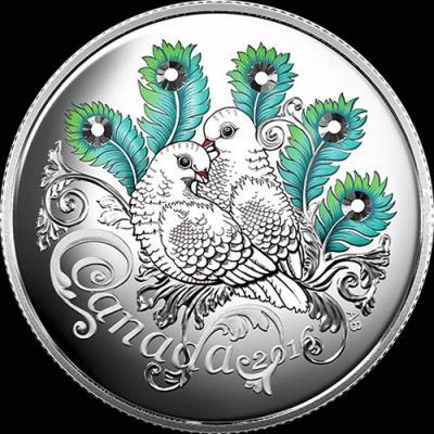 Канада, 2016 год, 10 долларов, Любовь и голуби.jpg