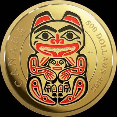 Канада, 500 долларов, 2016 год, Мифические королевства Хайда - Медведь (золото).jpg