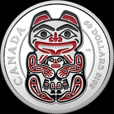 Канада, 50 долларов, 2016 год, Мифические королевства Хайда - Медведь (серебро).jpg