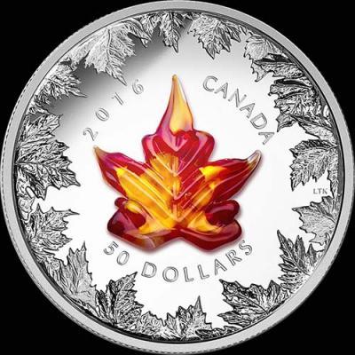 Канада, 50 долларов, 2016 год, Осенний лист клёна (муранское стекло).jpg