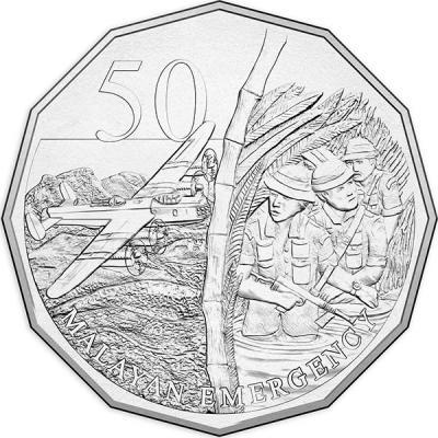 Австралия, 50 центов 2016 года, «Война в Малайе», серия Австралия в войне.jpg